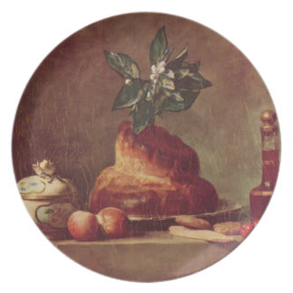 Vida de Jean-Simeon todavía Chardin- con el bollo  Plato Para Fiesta