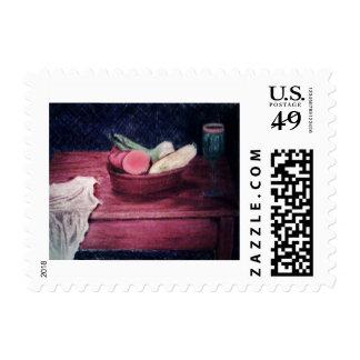 Vida de la fruta y todavía del vino timbres postales