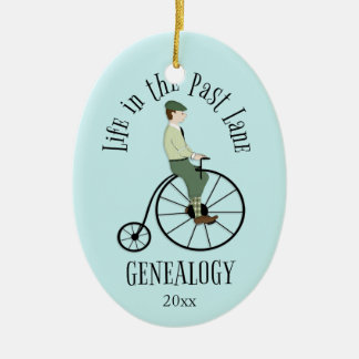 Vida de la genealogía en el último ornamento del adorno navideño ovalado de cerámica