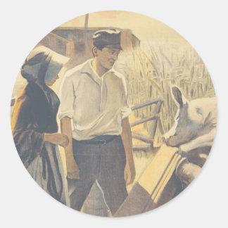 Vida de la granja de la CAMISETA Pegatina Redonda