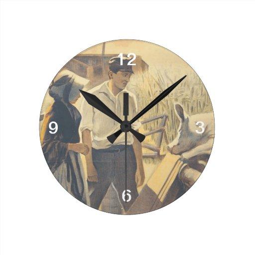 Vida de la granja de la CAMISETA Reloj Redondo Mediano