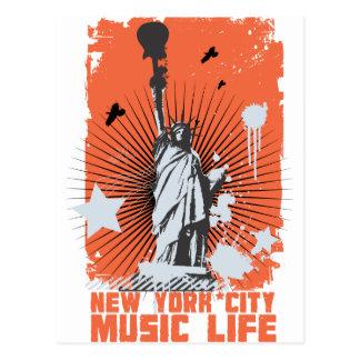 vida de la música de la libertad de Nueva York Postales