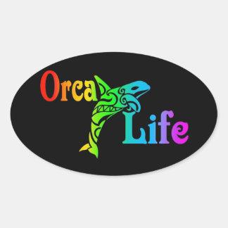 Vida de la orca pegatina ovalada