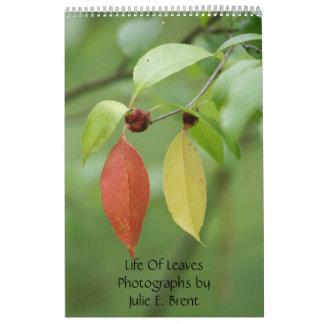 Vida de las fotografías de las hojas de Julia E Br Calendario