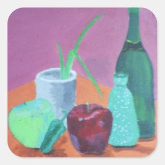 Vida de las frutas y todavía de las botellas calcomanias cuadradas