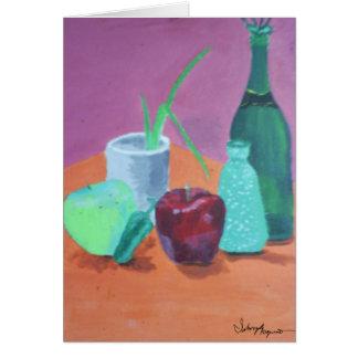 Vida de las frutas y todavía de las botellas tarjeta de felicitación
