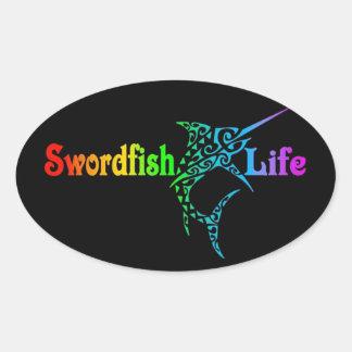 Vida de los peces espadas pegatina ovalada