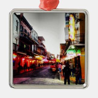 vida de noche de image.jpg New Orleans Adorno Cuadrado Plateado