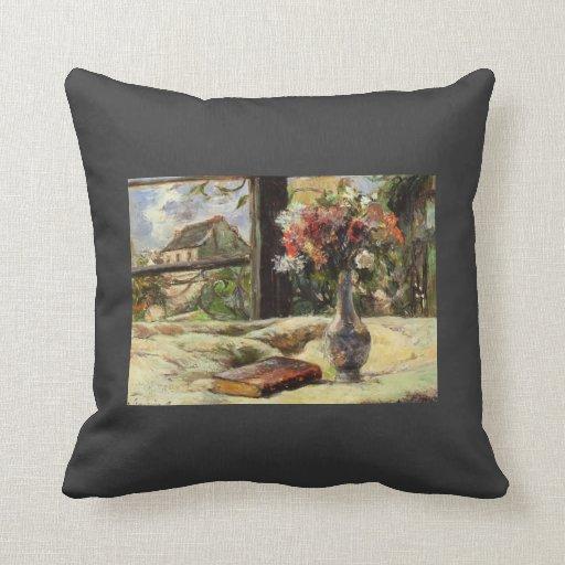 Vida de Paul todavía Gauguin-. Florero con las flo Cojin