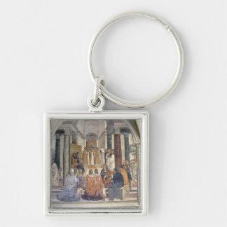 Vida de St. Benedicto (fresco) (detalle) Llavero Cuadrado Plateado