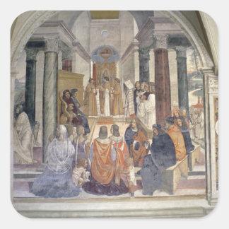 Vida de St. Benedicto (fresco) (detalle) Calcomanías Cuadradases