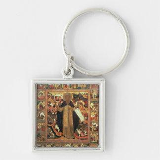 Vida de St. Sergius de Radonesh, 1640s Llavero Cuadrado Plateado