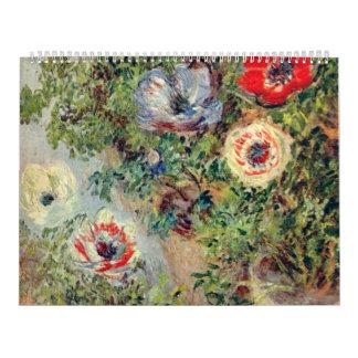 Vida de Stilll con las anémonas - Claude Monet Calendario