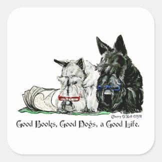 Vida de Terrier del escocés buena Colcomanias Cuadradas Personalizadas