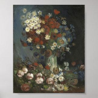Vida de Van Gogh- Still con las flores y los rosas Poster