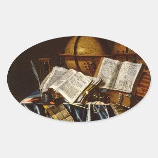 """Vida de """"Vanitas"""" aún - Adán Bernaert (1665) Pegatinas De Óval Personalizadas"""