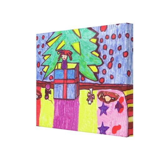 Vida debajo del árbol de navidad lienzo envuelto para galerias