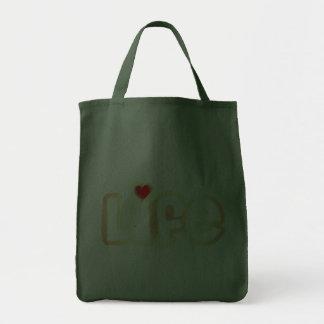 Vida del amor bolsa tela para la compra