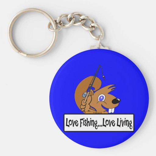 Vida del amor de la pesca del amor llavero redondo tipo pin