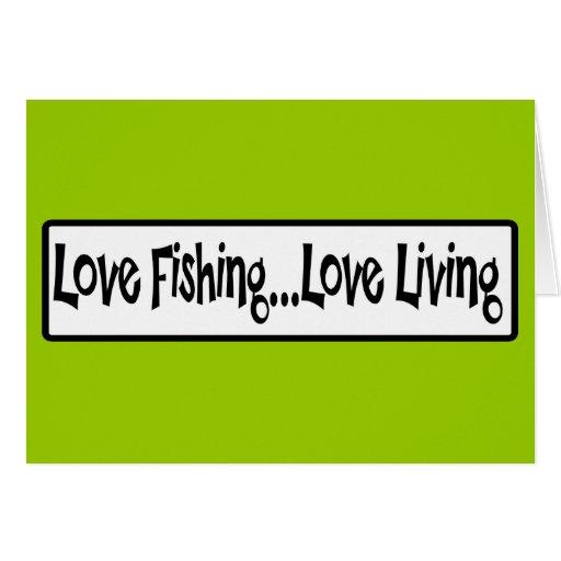 Vida del amor de la pesca del amor tarjeta pequeña