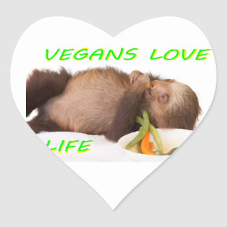 vida del amor de los veganos, slothie pegatina en forma de corazón