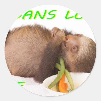 vida del amor de los veganos, slothie pegatina redonda