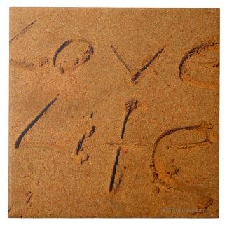 """""""Vida del amor"""" escrita en arena Azulejos"""