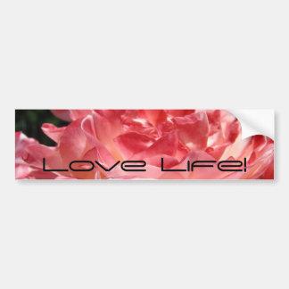 ¡Vida del amor! flor subió verano rosado de la peg Pegatina De Parachoque