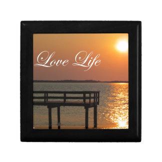 Vida del amor - muelle y puesta del sol cajas de joyas