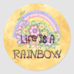 Vida del arco iris etiquetas redondas