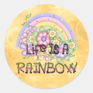 Vida del arco iris pegatina redonda