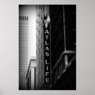 Vida del atlas, Tulsa, Oklahoma. Torre de perforac Posters