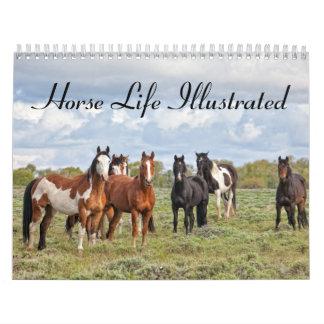 Vida del caballo ilustrada calendario de pared