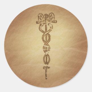 Vida del caduceo que da la vara romana etiquetas redondas