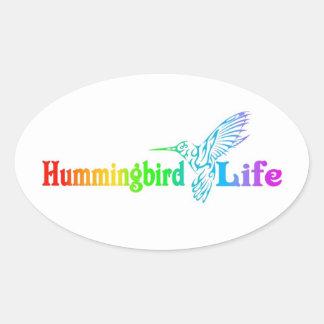 Vida del colibrí pegatina ovalada