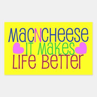 Vida del mac y del queso pegatina rectangular