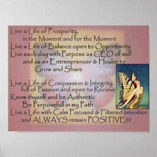 Vida del poster del mantra del propósito