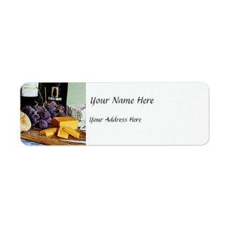 Vida del queso y todavía de las uvas del pan del etiqueta de remitente
