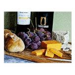Vida del queso y todavía de las uvas del pan del v tarjetas postales