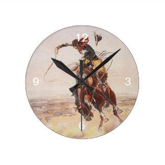 Vida del vaquero de la CAMISETA Reloj Redondo Mediano
