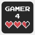 Vida del videojugador 4 calcomanías cuadradases