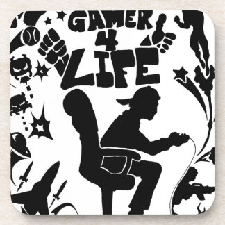 Vida del videojugador 4 posavasos de bebida