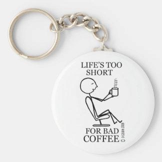 Vida demasiado corta para el mún café llavero redondo tipo pin