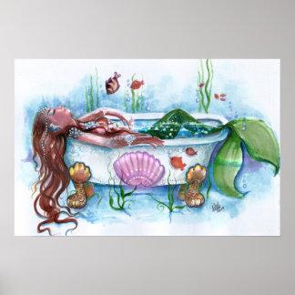 Vida dulce, sirena en una bañera póster