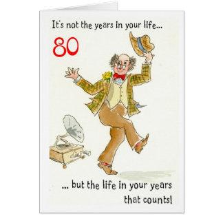 Vida en 80 a tarjeta de cumpleaños de sus años