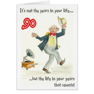 """""""Vida en 90.a tarjeta de cumpleaños de sus años"""""""