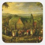 Vida en el campo con una escena del boda colcomanias cuadradas