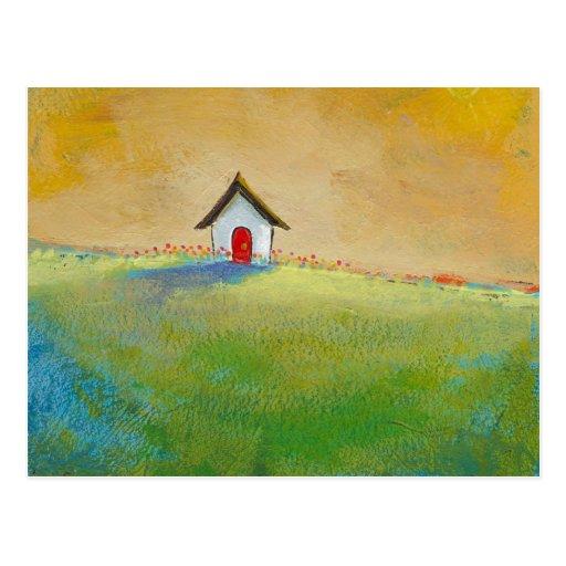 Vida en el color - pequeña pintura de paisaje feli postal
