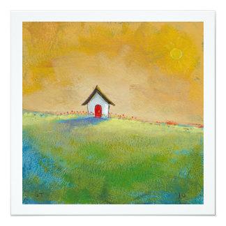 """Vida en pintura de paisaje feliz del color la invitación 5.25"""" x 5.25"""""""