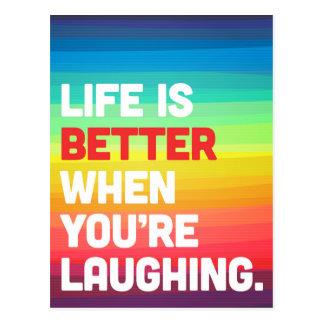 Vida en que usted está riendo cita postal